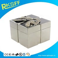 Metal Square Shape Bowknot Jewerly Box