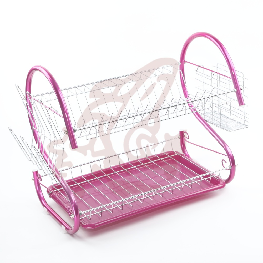 kitchen drainer chrome plated 2 tier dish rack