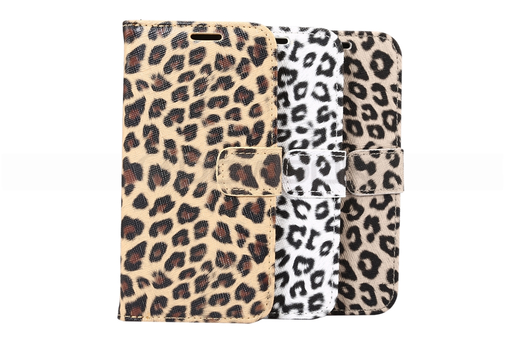 Leopard Print PU Leather Stand Flip Case for iPhone Samsung