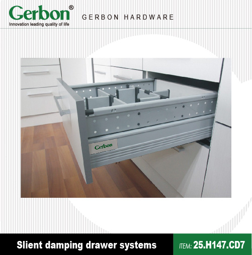 Kitchen cabinet soft close full extension steel drawer slide