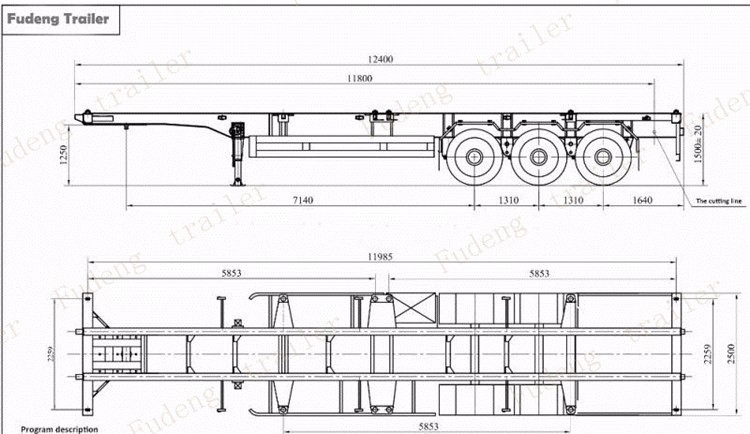 Low Price 3 Axles Truck Trailer Chassis Used Container