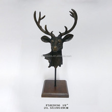 Cheap price small indoor table decor figurines resin deer head statue