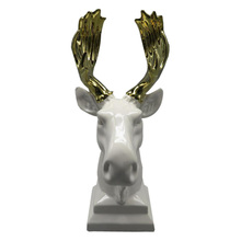 Animal Figurines White Ceramic Deer Head For Home Or Hotel Decor