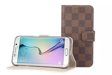 2015 Stylish Credit Card Holder Stander Classic Checked PU Leather Case Cover for Samsung Galaxy S6 edge