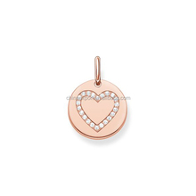 Disc Shape Rose Gold Initial Or Heart Engraved Charm Pendant