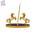 24K Gold Plated Double Horse Decorative with Pen