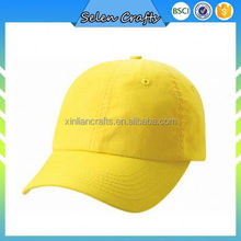 Yellow Plain Baseball Caps With Embroidered Eyelets