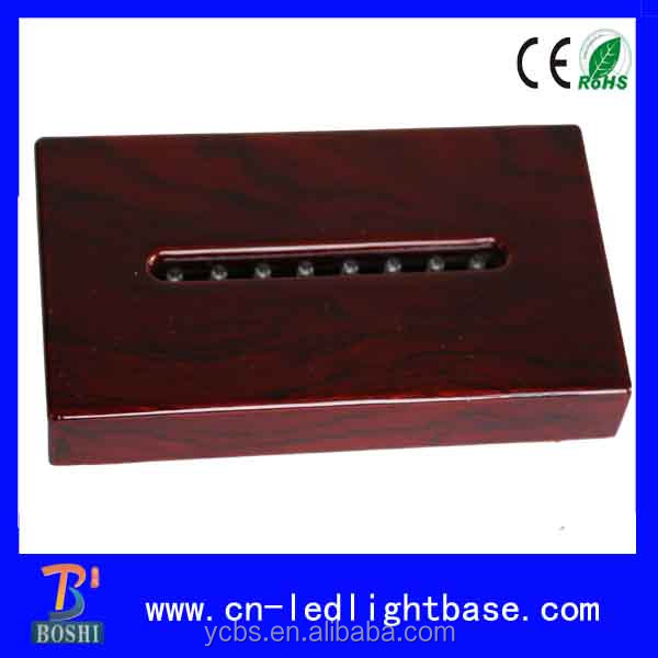 Red rectangular wood base led light stand for 3D crystals