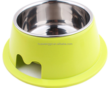 New arrival high quality pet accessories stainless steel + plastic combined round bowls with various colors