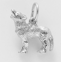 3 Dimensional Silver Zinc Alloy Animal Roaring Wolf Charm For Bracelet