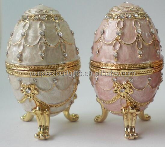Antique Purple Egg Crystal Metal Trinket Box Figurines Jewellry Wedding Gifts