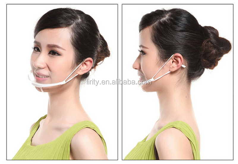 Health Care Transparent tattoo mouth Mask Anti Fog Catering Food Hotel Plastic Restaurant Smile Mouth Masks beauty salons