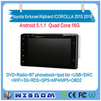 WISDOM 8 inch Android 5.1.1 touch screen car dvd player for toyota fortuner/Alphard /COROLLA 2015 2016 car gps navigation system