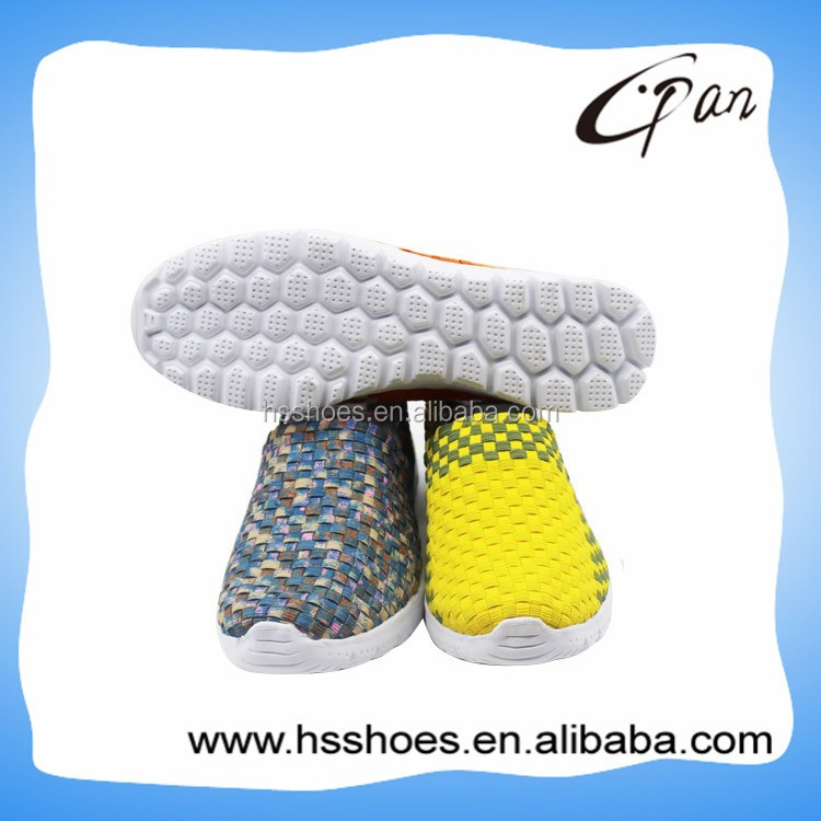 Bright color EVA outsole woven shoes ladies