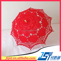 Beach party red wooden embroidery lace umbrella wedding favors