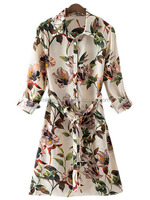 MIKA5068 2016 Fashion Long Sleeve Print Floral Shirt Dress