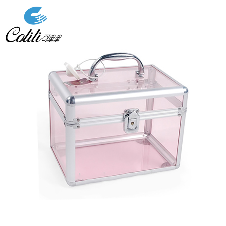 Pink transparent aluminum acrylic beauty cosmetics train case