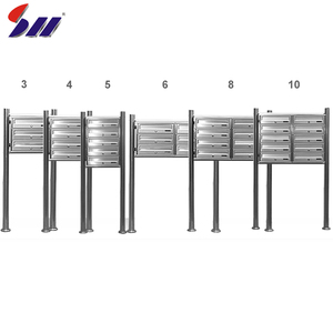 Modern apartment building stainless steel German mailboxes for 6 boxes
