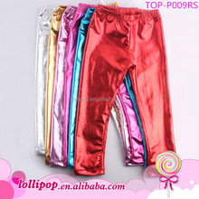 China Yi Wu girls trousers in stock shiny cheap new arrival tight kids multicolor leather pants wholesale waterproof baby pants