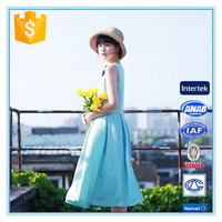 Latest Style Plain Sleeveless Chiffon Design One Piece Summer Dress For Lady
