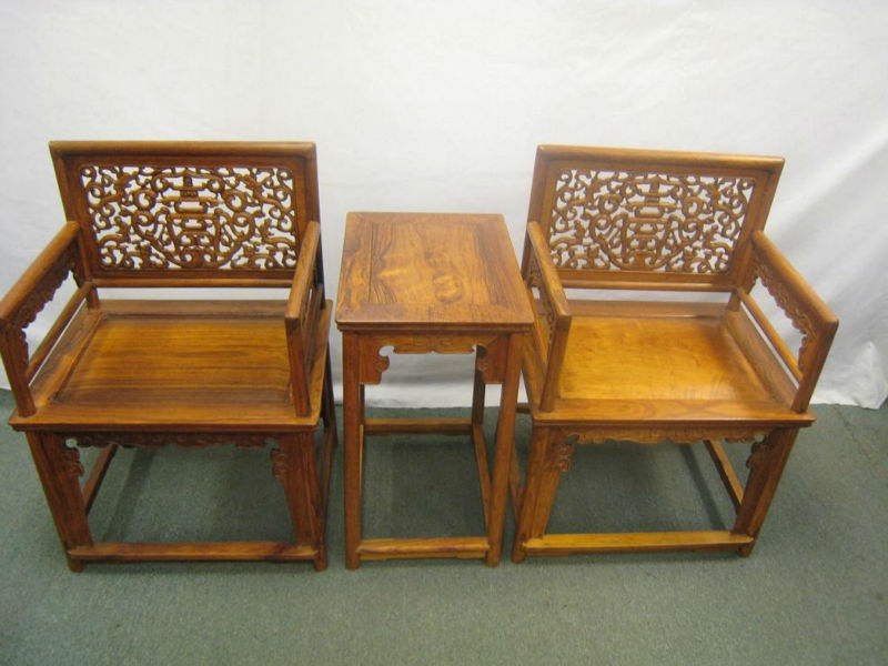 Huanghuali Rose Chair Set of 3pcs