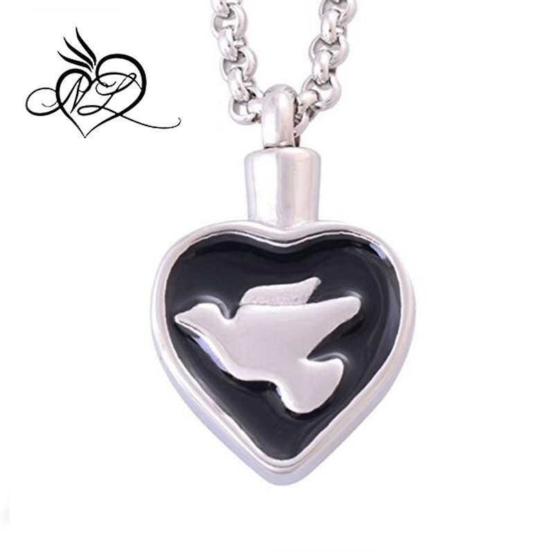 Stainless Steel Heart-shape White Peace Dove Pendant Necklaces Cremation Jewelry Urns Keepsakes