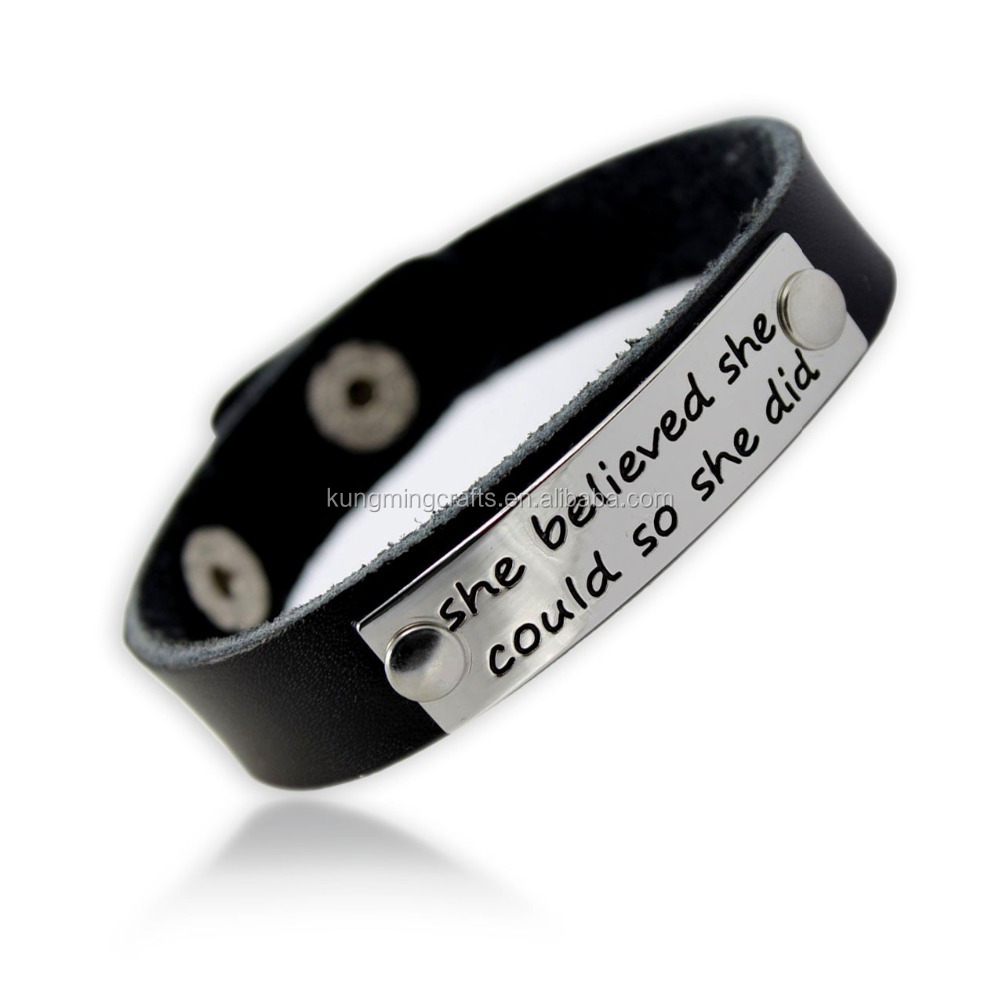 2017 Hot Sale Fashion Accessories Custom Engraved Texts Black Genuine Leather Bracelet