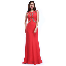 Branded Simple Elegant Fishtail Style Thai Red Silk Evening Dress