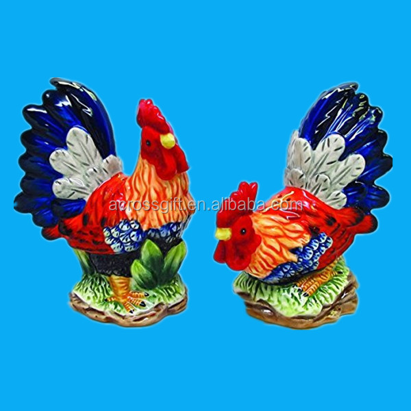 custom antique hand painted ceramic rooster and chickens