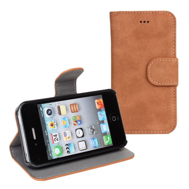 Tan Suede Portfolio Wallet Fold Leather Case for iPhone 4 4s