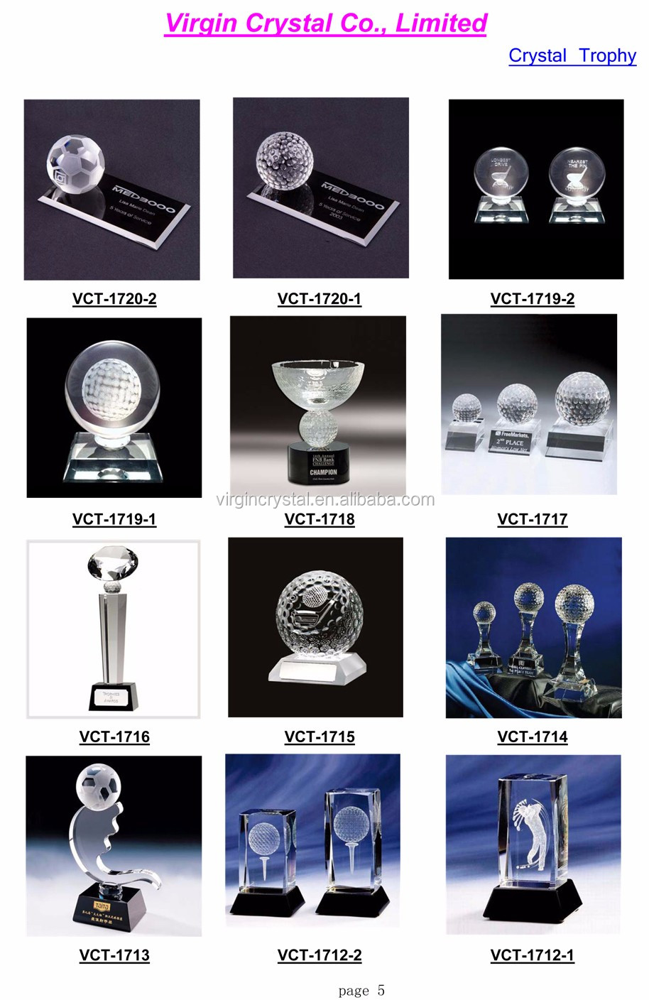 Unique Custom Crystal Glass Golf Trophy Designs for Golf Tournament Awards