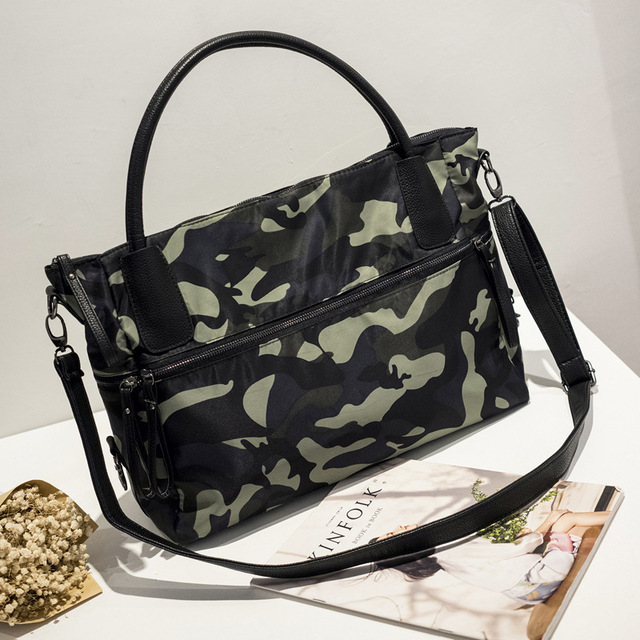 China wholesale canvas bag camouflage handbag women