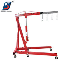 2 ton car mobile mini manual folding hydraulic shop crane price