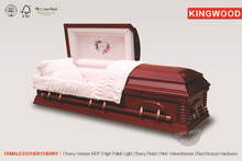 FEMALE ESTHER CHERRY US style cheap wooden casket with casket cover