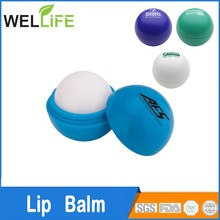 OEM cute ball shaped plastic lip balm ball container