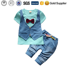 summer children fake two 2 pieces clothing set baby boy clothes