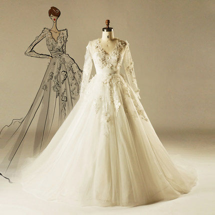 AH1508 Real v neckline new style alibaba heavy lace wedding gown a line long sleeve tulle wedding dress