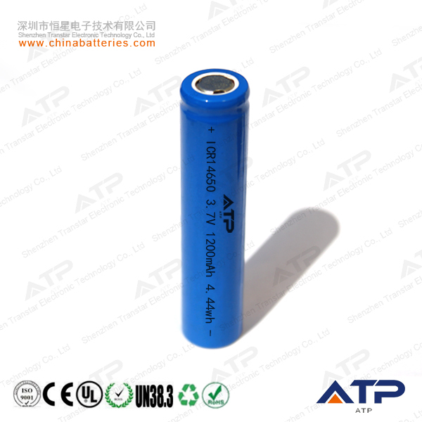 Top quality 3.7v icr 14650 li-ion rechargeable battery / 14650 3.7v 1100mah li-ion battery pack