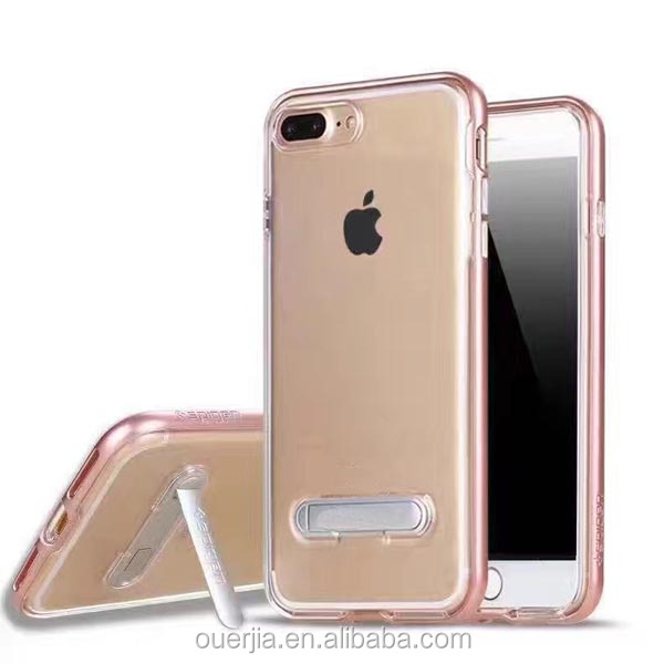 Hands Free kickstand PC bumper Clear TPU case for iphone 7