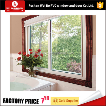 Energy-saving low-e glass sliding window pvc/upvc profile window with shutter