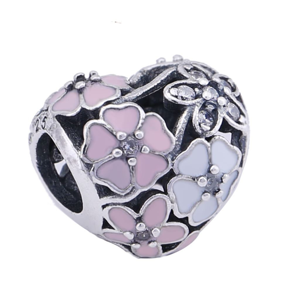 Dvacaman Colors2017Spring Floral Lotus Charm Beads Fits For Snake Bracelet Original925Sterling Silver Charms Bead Jewelry Making