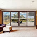 exterior french sliding glass patio doors with built in blinds between glass