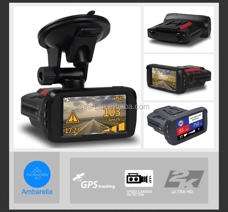 2.7 inch Ambarella A7 1296P Anti Speed Radar Detector Dash Cam GPS
