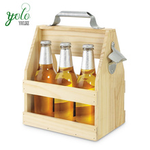 Durable 3 Bottle Wood Beer Caddy with Opener