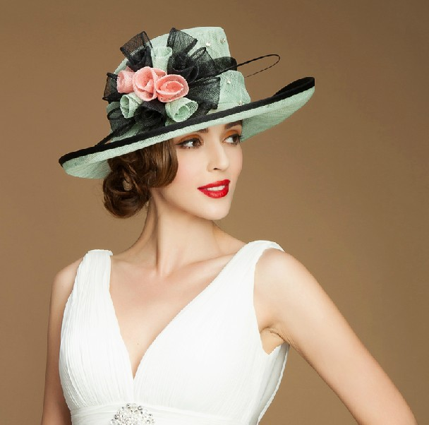 2015 new design women sinamay wholesale church hats with flowers