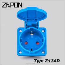 ZNPON Z134D 16A 250V IP54 Waterproof 2200W black blue European Socket plate with Children Protection