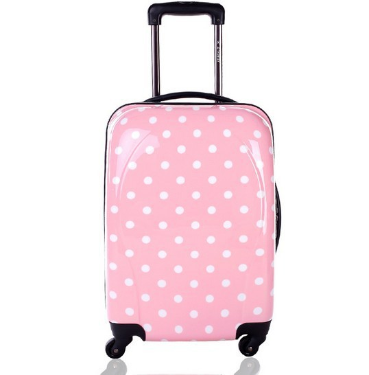 Cute Pink Girls Polka Dot Travel Rolling Pc Hard Luggage - Buy ...