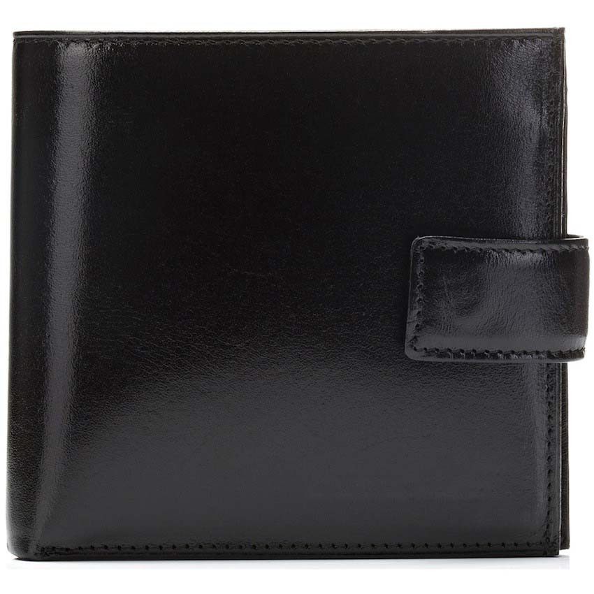Antiqued bifold multifunctional zipper purse italian vegetable tanned leather card holder wallet