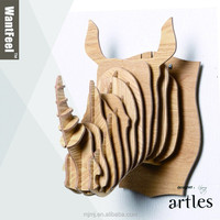 decorative home rhino sculpture/ animal wood handicrafts