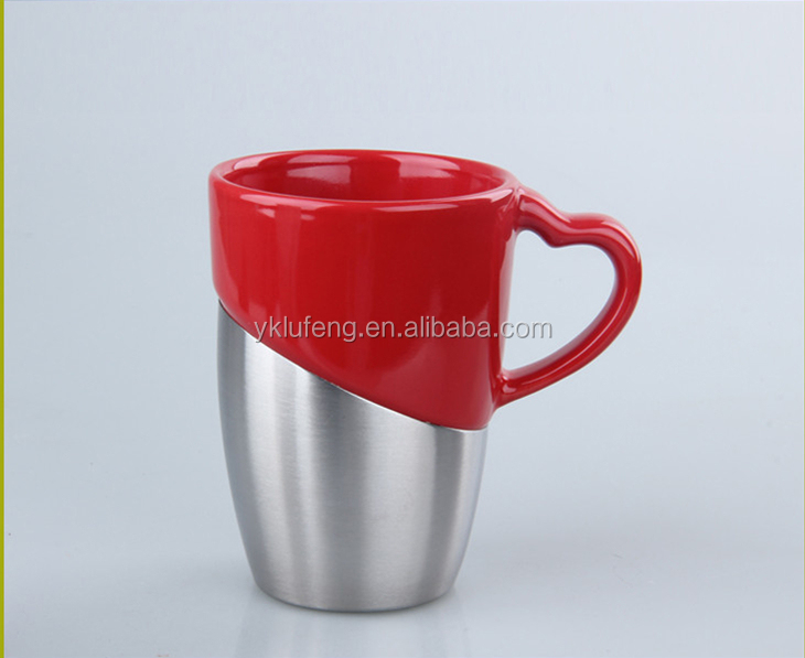 Stainless steel base laser engraved logo coffee ceramic mug with handle